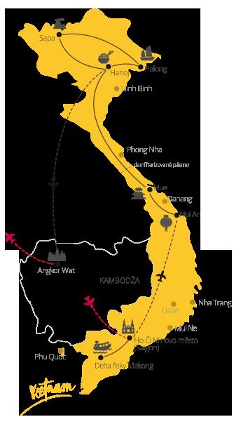 Velká cesta Vietnam a Kambodža mapa