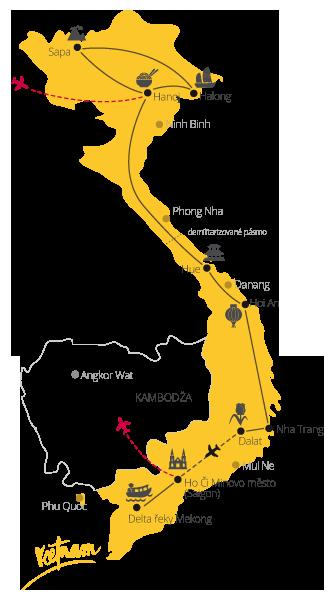 Zájezd Velká cesta Vietnamem mapa